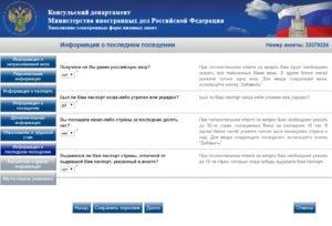 Заполнение электронной визовой анкеты - шаг 10