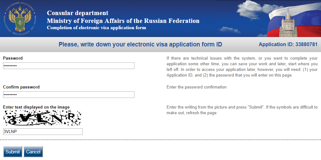Comlpleting electronic visa application form - step 2