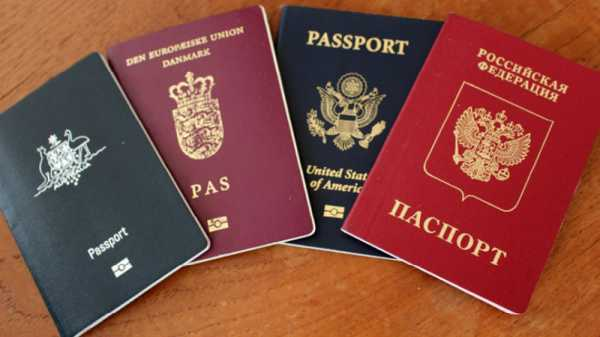 Паспорта Российской Федерации, США, Дании и Австралии